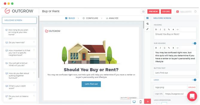 Outgrow's Interactive Quiz Builder