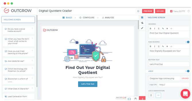 Outgrow's Online Survey Builder