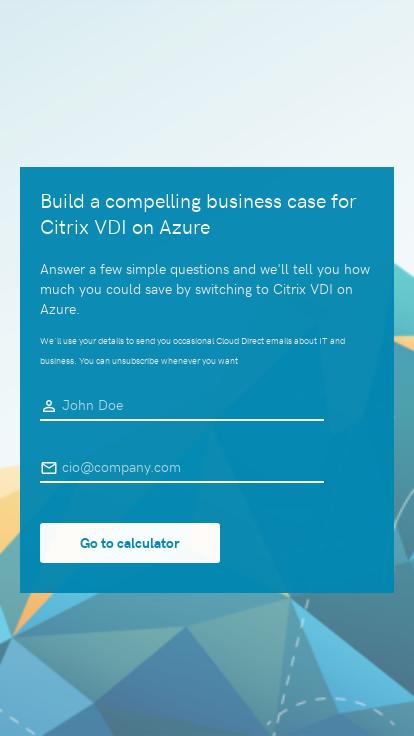 Cloud Direct Azure VDI savings calculator